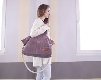 Leather Shoulder Bag Rope Handle Bag Tote Bag Hobo Bag