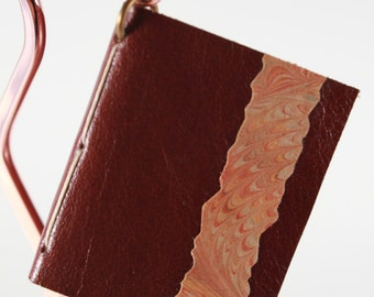 """Brown """"Mini-Book"""" Bookmark - tiny soft cover - Lovely bookmark in leather - mini diary in leather"""