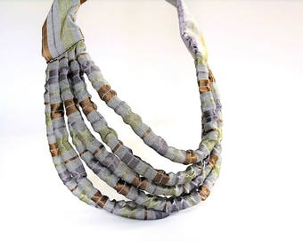 Minimalist necklace brown, layered necklace, statement textile necklace, collier textile gray, gift for woman, gift for her - Fiber art