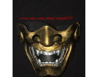 Half cover Hannya Kabuki mask, Airsoft mask, Halloween costume & Cosplay mask, Halloween mask, Steampunk mask, Wall mask, Samurai MA132 et