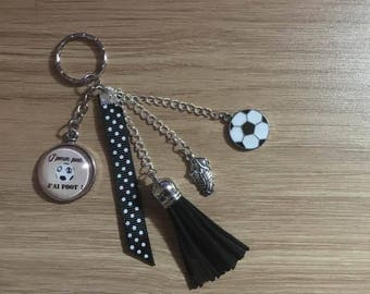 """key / jewelry bag """"I can't I have football"""""""
