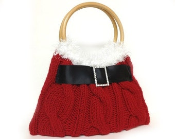 LAST ONE red Christmas purse hand knitted Christmas gift or for you Ready for Shipping