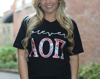 Alpha Omicron Pi American Apparel Short and Long Sleeve T-shirt - Forever AOPi - Alpha Omicron Pi Letter Shirt