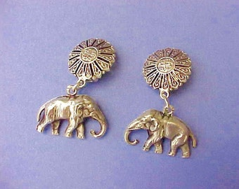Beautiful and Exotic Vintage Sterling Silver Dangling Elephant Earrings