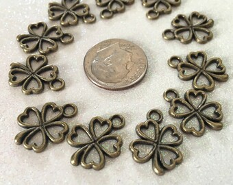 10 - Bronze Antiqued 4 Leaf Clover Heart Charms, Lucky Clover Pendants, Lucy Charms