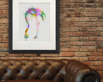 Flamingo print art - Flamingo 3 Print - Flamingo party decor Pink flamingo Flamingo art print Bird lover Bird decor Bird painting UK shop