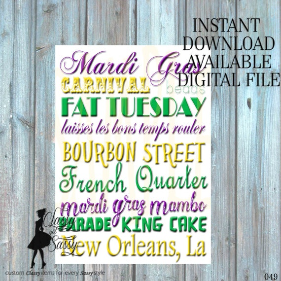 Mardi Gras Sign, Mardi Gras poster, instant download 049