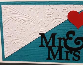 An Embossed Wedding Card - Mr & Mrs
