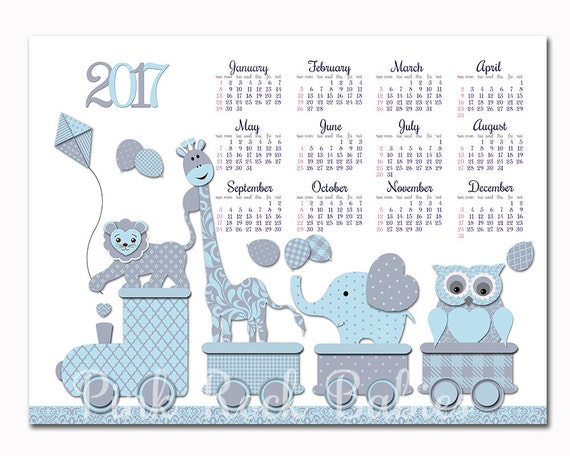 items similar to 2017 calendar owl elephant giraffe wall decor baby boy room decoration blue nursery art kids room poster kids room calendar new year gift