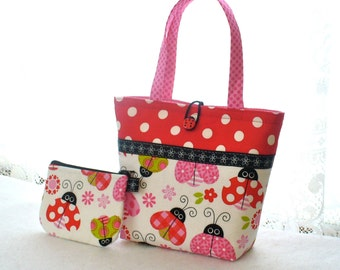 Little Girls Purse Coin Purse Set Ladybug Fabric Mini Tote Bag Childs Purse with Wallet Kids Bag Pink Red Polka Dot Handmade MTO