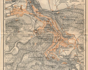 1929 Karlsbad Germany Antique Map