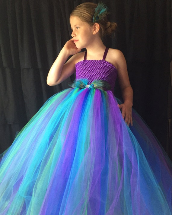 Peacock Flower Girl Dress Turquoise And Purple Tutu Dress