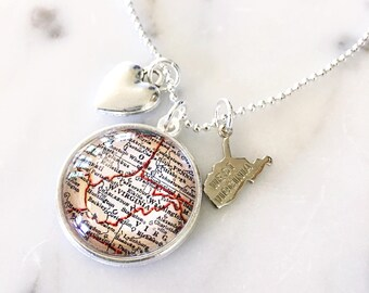 West Virginia Charm Necklace - West Virginia Necklace - West Virginia Jewelry - Charm Necklace - State Pride - Map Charm Necklace