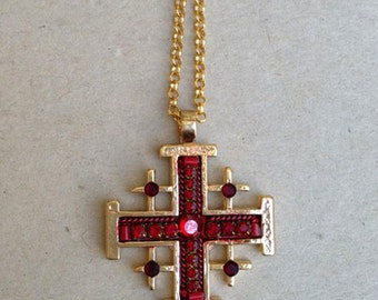 Deep red jerusalem cross pendant , Gold plated jerusalem cross pendant ' Swarovski crystals and beads - hand-made by Adaya Jewelry