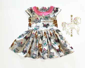 Kitten Dress | Girls Dress | Cat Dress | Toddler Dress | Baby Girl Dress | Kittens | Cats | Birthday Dress | Cat Party | I love Cats | Kitty