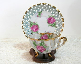 Napco Blue With Big Pink Roses Design Footed Teacup With Pierced Edge Saucer
