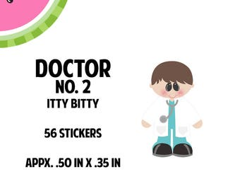 Itty Bitty Male Doctor Light Skin Stickers | 56 Kiss-Cut Stickers | OB-GYN, Male Doctor, PA,  Medical | IB068