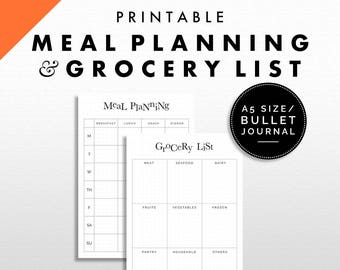 Meal Planning and Grocery List Printable | Bullet Journal / A5 Size | Minimalist Design