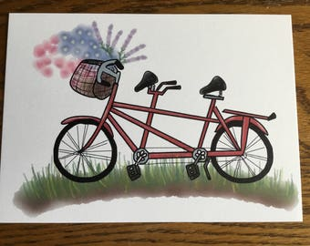 Tandem Bycicle with Floral Basket 5x7 Art Print
