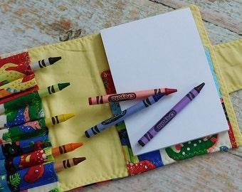 Personalized Crayon Wallet - Art Kit - Dinosaur Crayon - Crayon Organizer - Crayon Bag Holder - Homeschool Art - Homeschool Kit