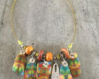 crew polymer clay necklace - boho style