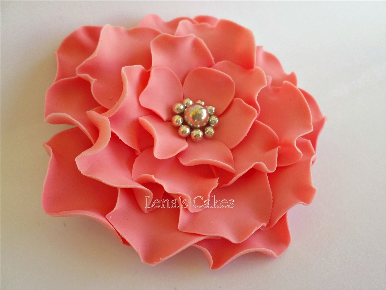 2 Fondant Edible Flowers Roses Coral Wedding Silver Decor