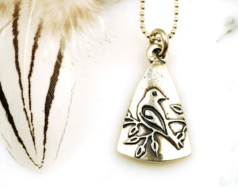 Cooing Dove Pendant - Delicate Sterling Silver Bird Necklace