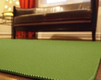 Olive Green Designer Wool Felt Area Rug - 100% Wool, Multiple Sizes Available, Felt Rug