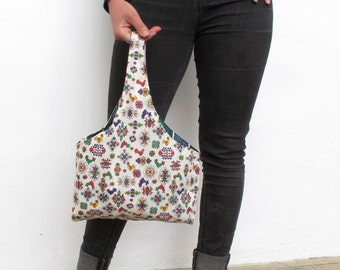 White Country Patterned Cotton Handmade Tote Bag