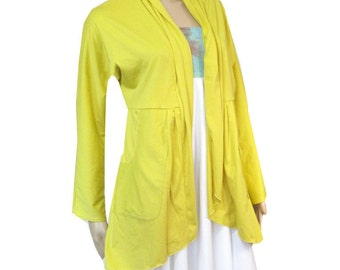 Plus Size Cardigan with Pockets/Jacket-Hand Dyed Bamboo/Organic Cotton Jersey-Womens Made to Order-Choice of Color -XL,2X,3X,4X,5X,6X,7X,8X+