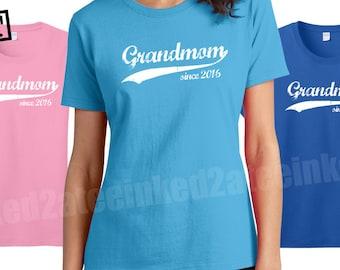 Grandmom since any year womens Tshirt custom grandma gifts grandmom nonna memaw tshirts tees tops