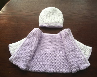 Baby girl CROCHET PATTERN Little cutie reversible coat/jacket and hat 3-6 months.