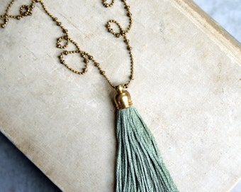 Green Tassel Necklace, Sage Green Tassel Necklace, Long Tassel Necklace, Layering Tassel Necklace