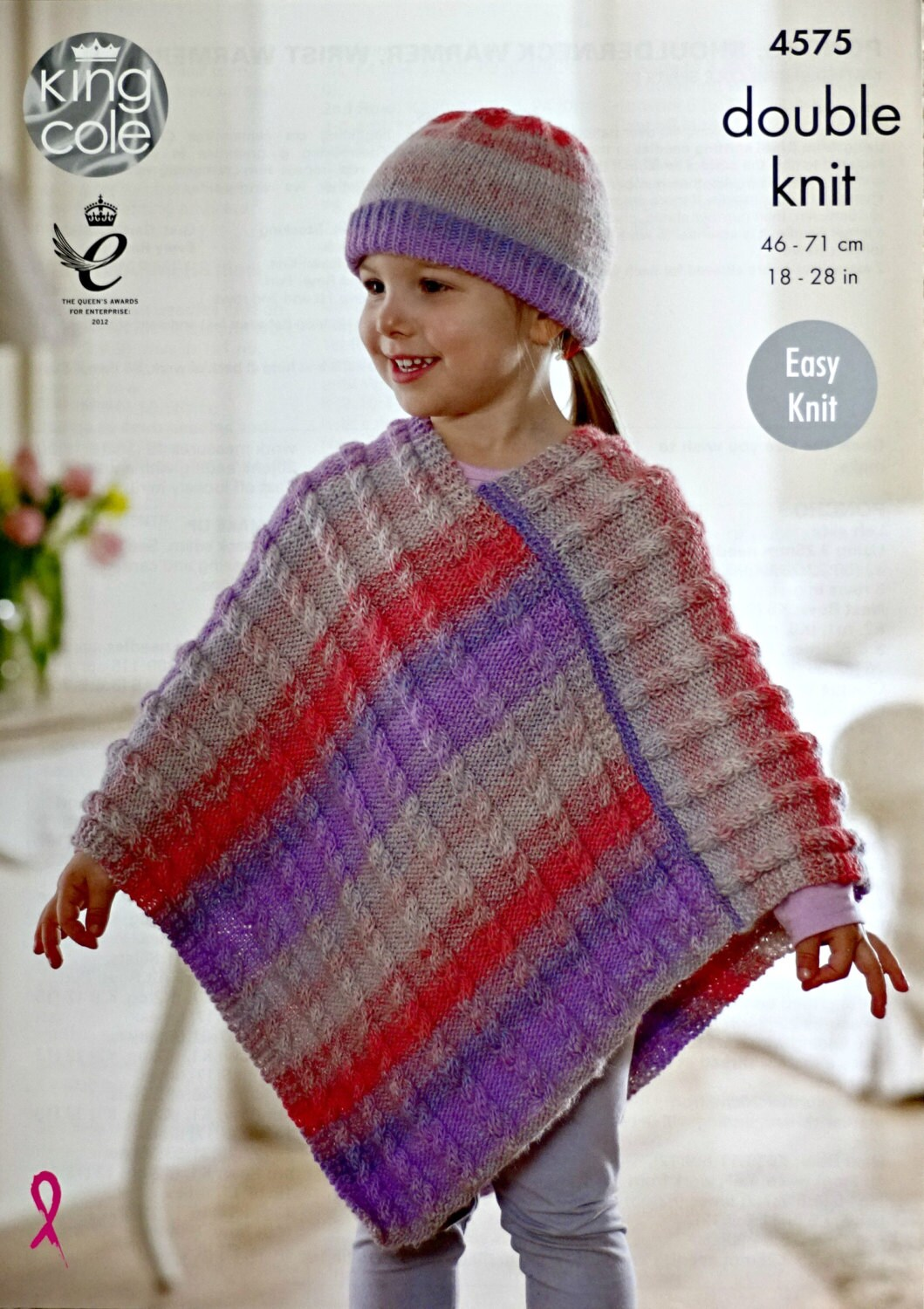 Girls Knitting Pattern K4575 Girls Easy Knit Cable Poncho and Hat ...