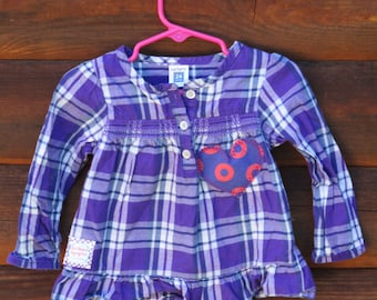 24 month PHISH TOP,  Get Down UpCycled, Phunky Phish Shirt Little Rager Festival Fishman purple plaid