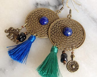 Ethnic earrings, boho, separated, blue, green, lapis lazuli beads, glass cabochon tassels, charms bronze metal
