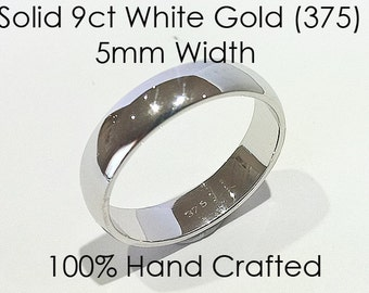9ct 375 Solid White Gold Ring Wedding Engagement Friendship Friend Half Round Band NEW 5mm