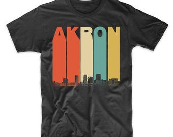 Vintage Retro 1970's Style Akron Ohio Skyline T-Shirt by Really Awesome Shirts