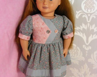 """50's Retro Style Dress for 18"""" Doll . Blue and Pink Cotton Fabrics."""