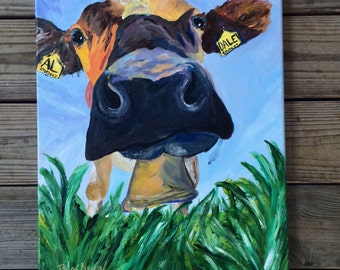 16x20 original painting. Cow grazing.