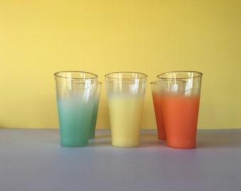 Vintage Blendo Glasses, Set of 6, Drinking Glasses, Mid Century Glass, Vintage Kitchen, Tumblers, Drink ware, Frosted Glasses, Mod Kitchen