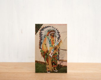 Vintage Postcard Art Block 'Indian Chief' - Canadiana, Native American, First Nations