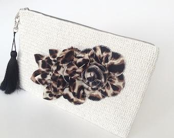Ivory  Crocheted Boho Clutch, Flower Zip Pouch, Bag Organizer, Handmade