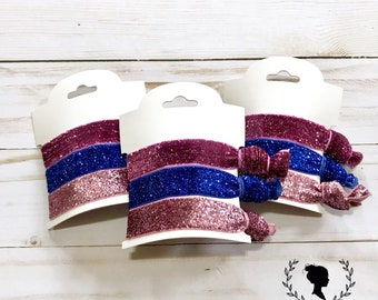 Purple, Pink, and Blue Glitter Hair Tie Set