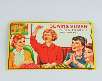 """1950s Needle Book """"Sewing Susan"""" with sewing needles and threader from USA"""