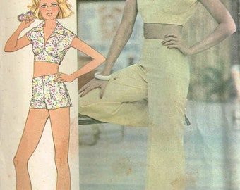 Sewing Pattern 1970s Cropped Top, Shorts, Pants McCalls 4482 Size 10 Bust 32.5 Uncut