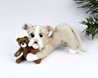 Pit Bull Terrier Christmas Ornament Teddy Porcelain Clearance