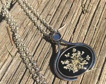 Natural jewelry, Dried flower necklace, nature jewelry, real flower jewelry, sister boho gift, terrarium necklace with pressed flower gift