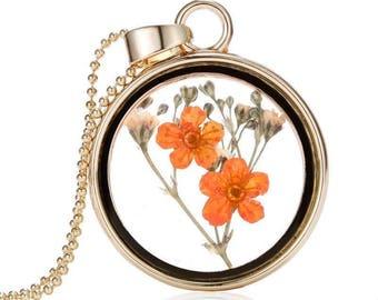 Orange Dried Flower Floating Pendant Necklace