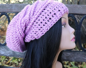 Cotton Lilac Slouchy hat for teens and adults